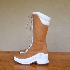 Women's TIMBERLAND KNEE HIGH BOOTS 8M White & Gold
